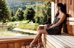 Tauber's Bio-Vitalhotel: Saunabereich mit Finnischer Sauna und Dampfsauna - Tauber's Bio-Wander-Vitalhotel, St. Sigmund, Trentino-Südtirol, Italien