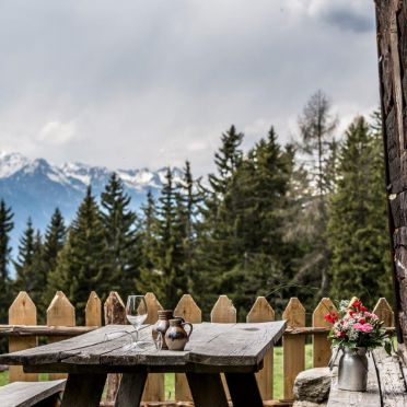 Terrace, Reh's Wiesen Hütte, Lüsen/Brixen, Südtirol, Alto Adige, Italy