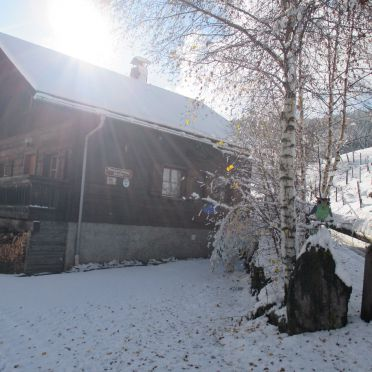Winter, Dorferhütte in Oberwölz, Steiermark, Styria , Austria