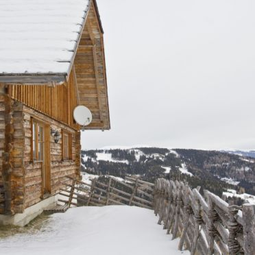 Aussicht Kuhgrabenhütte, Kuhgrabenhütte in Bad St. Leonhard, Kärnten, Kärnten, Österreich