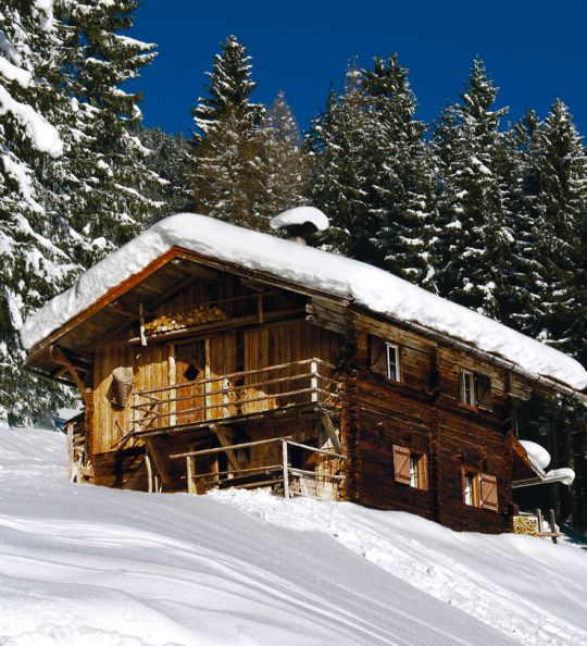 Chalets in the middle of the ski area