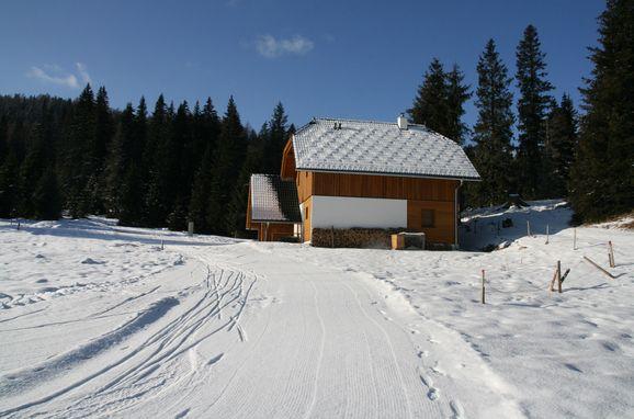 Seitenansicht, Hüttendorf Flattnitz - Typ C in Glödnitz, Kärnten, Kärnten, Österreich