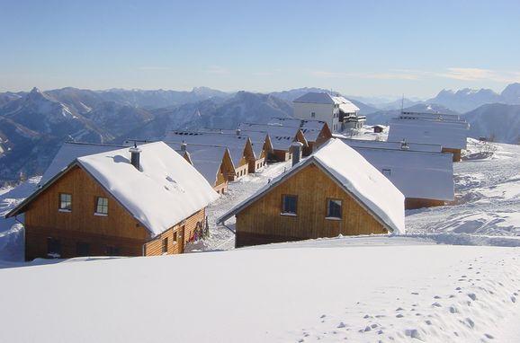Winter, Erlakogelhütte am Feuerkogel in Ebensee, Oberösterreich, Oberösterreich, Österreich