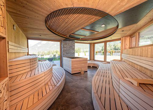 Biohotel Holzleiten: neuer Wellnessbereich mit Panorama-Sauna - Bio-Wellnesshotel Holzleiten , Obsteig, Tirol, Österreich