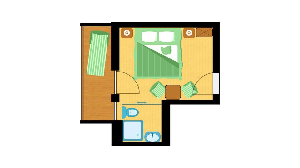 Raumplan Doppelzimmer Finkennest im St. Johanner Hof