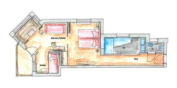 Appartement Gartenblick Grundriss