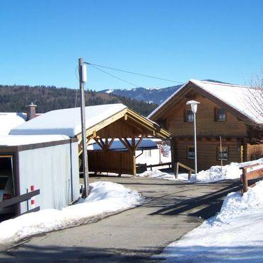 Außen Winter 15, Ferienhütte Schachtenbach im Bayerischen Wald, Bayerisch Eisenstein, Bayerischer Wald, Bayern, Deutschland