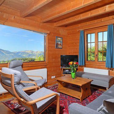 "Innen Sommer 2, Chalet ""Zan Fleuron"" in den Waadtländer Alpen, Gryon, Waadtländer Alpen, Waadt, Schweiz"