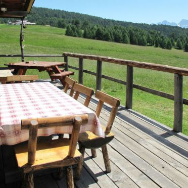 Außen Sommer 4, Chalet Baita Medil, Moena, Fassatal, Trentino-Südtirol, Italien