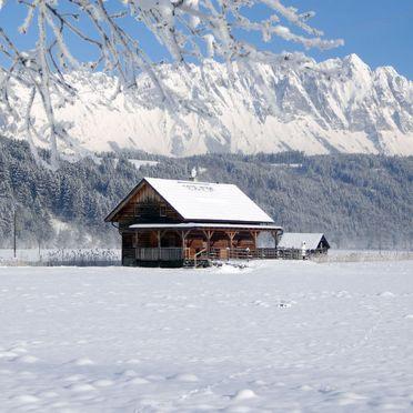 Außen Winter 18, Blockhütte Steiner, Stein an der Enns, Steiermark, Steiermark, Österreich